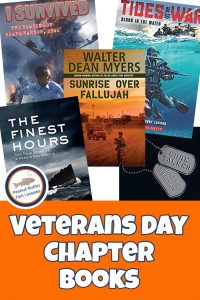 Pinnable cover image for blog post Veterans Day Chapter Books showing four different books.