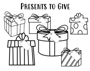 Black and white drawings of six different presents with the title Presents to Give.