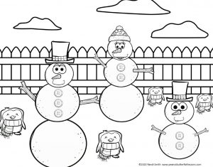 Printed black and white picture of snowmen and penguins in a backyard.