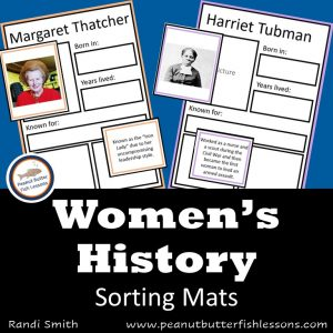 Product cover for Women's History Sorting Mats with title and pictures of two of the sorting mats.