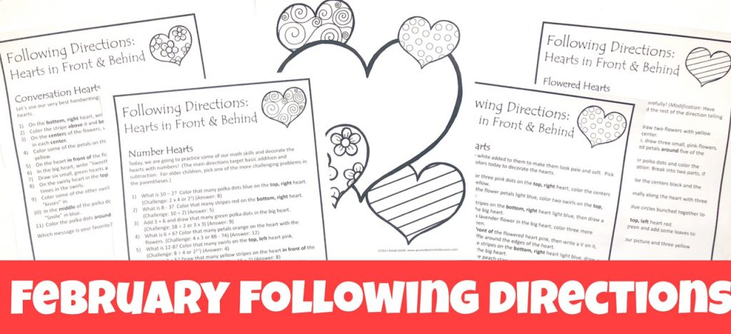 Cover for February Following Directions packet showing printed directions and picture.