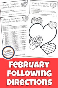 Pinnable cover for February Following Directions packet showing printed directions and picture.