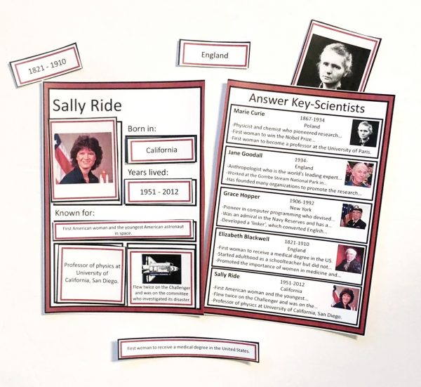 Women's History Sorting Mats with Sally Ride and Answer Key