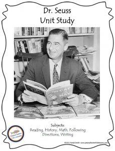 Cover of the printable Dr. Seuss unit study showing a photograph of Dr. Seuss with a book at a desk.
