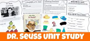Cover for Dr. Seuss FREE Unit Study showing printables and book.