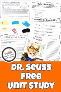 Pinnable cover for Dr. Seuss FREE Unit Study showing printables and book.