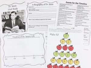 Printable worksheets from unit study including timeline, notebooking pages, and a math game.