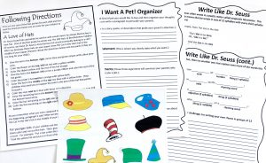 Printables from unit study including following directions activity and writing worksheets.