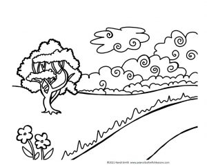 Black and white drawing of field, tree, creek, and clouds.