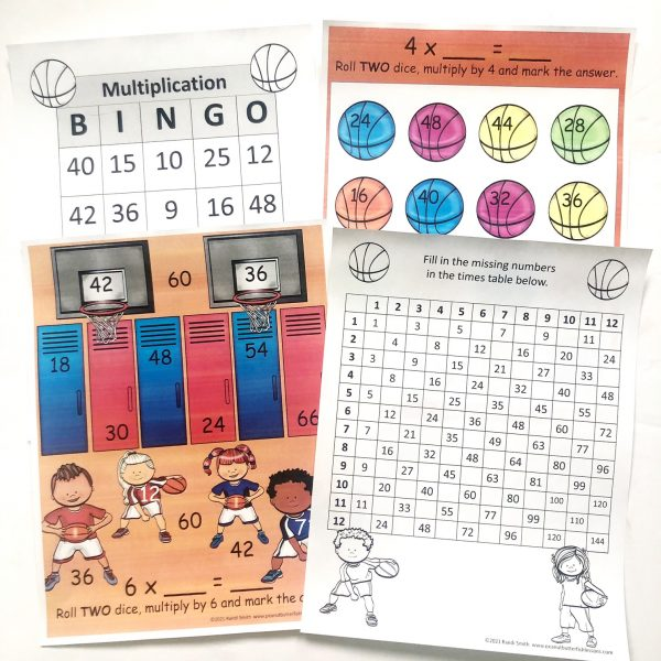 Four printable pages: two roll and multiply games, one bingo board, and one fill-in the blank multiplication table.