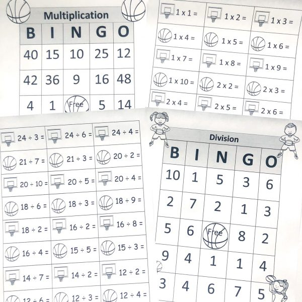 Four printable pages: two bingo cards and two pages of multiplication and division calling cards for bingo.