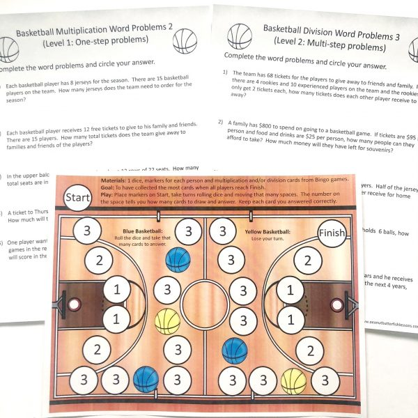 Three printable pages: 1 Basketball court fact game and two pages of word problems.