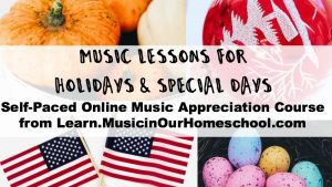 Cover to Music Lessons for Holidays and Special Days showing four holiday pictures: pumpkins, ornaments, flags, and dyed eggs.