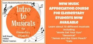 Cover for Intro to Musicals Course showing music notes and text.
