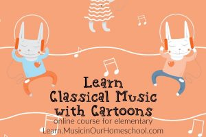 Cover for Learn Classical Music with Cartoons showing cartoon rabbits listening to music.