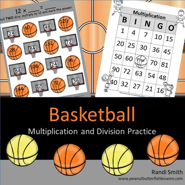 Cover of Basketball Multiplication and Division Practice showing title, two printables, and basketball graphics.