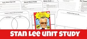 Cover for Stan Lee Unit Study showing book and several of the printable pages.