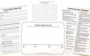 Notebooking, timeline, and word search pages from Stan Lee Unit Study.