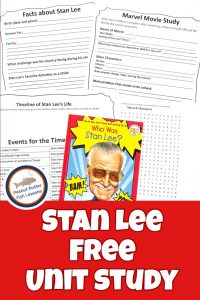 Pinnable cover for Stan Lee Unit Study showing book and five of the printable pages.