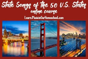 Cover for State Songs of the 50 US States Music Course showing three scenes from the US.
