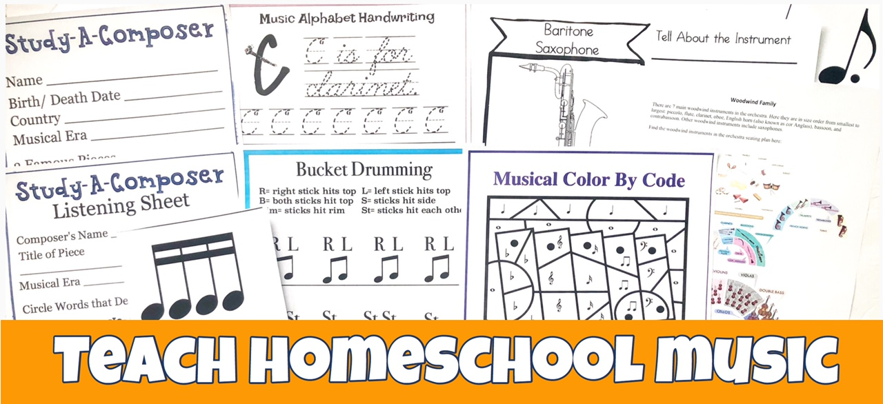 Cover for Teach Homeschool Music to Your Children post showing a few printables from the program.