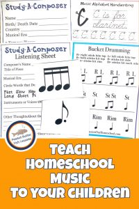 Pinnable cover for Teach Homeschool Music to Your Children post showing a few printables from the program.