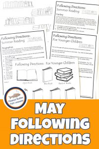 Pinnable cover for May Summer Reading Following Directions Packet showing black and white printable pictures and directions.