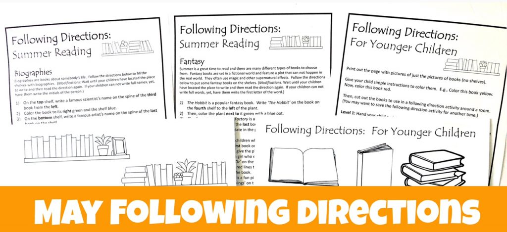 Cover for May Summer Reading Following Directions Packet showing black and white printable pictures and directions.