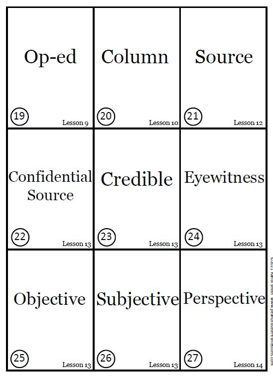 Black and white print of the front of 9 vocabulary cards showing the word, the number and the number of the lesson associated with it.