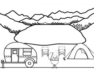 Black and white drawing of a campsite with mountains in the background.