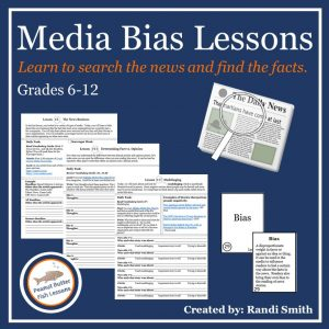 Cover for product Media Bias Lessons showing text, three printable pages from the product, and the front and back of the 'bias' vocabulary card.