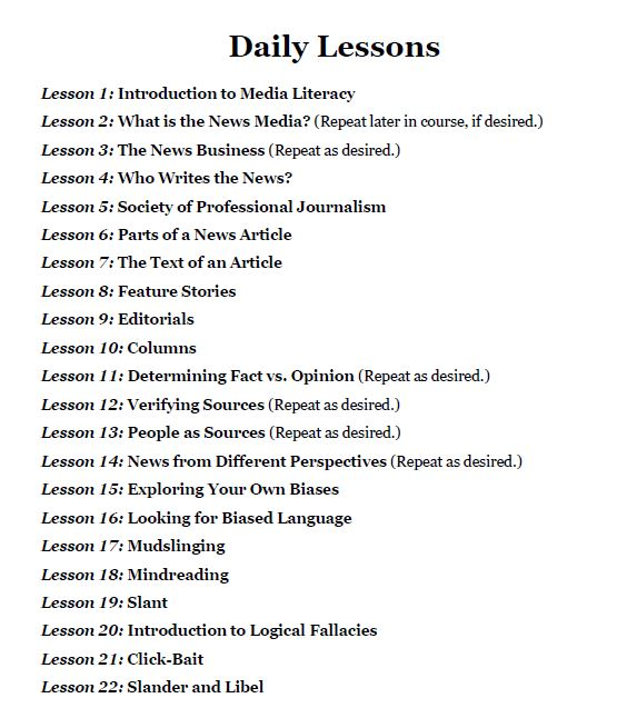 Black and white printed list of the 22 lessons included in the Media Bias Lessons.