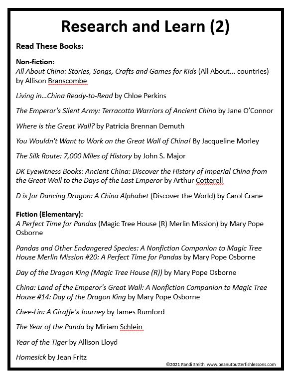 Printed list of books organized by age to learn about China.