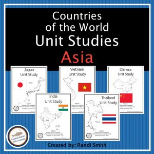 Product cover showing the covers of five different country studies from Asia. Each cover shows a black and white map and a colored flag for the country.