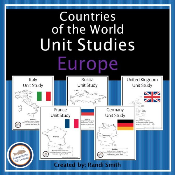 Cover for Europe Unit Studies showing front covers of the five different unit studies with flags and map outlines.
