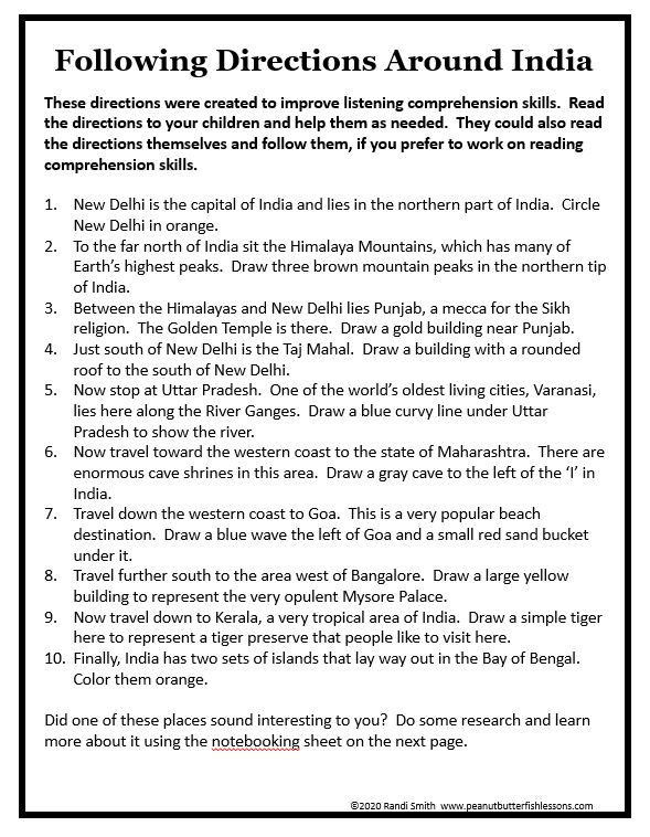 Printed page of directions to read to work with a map of India.
