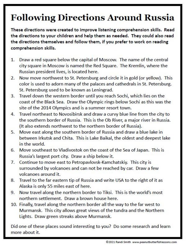 Printable Following Directions for Russia