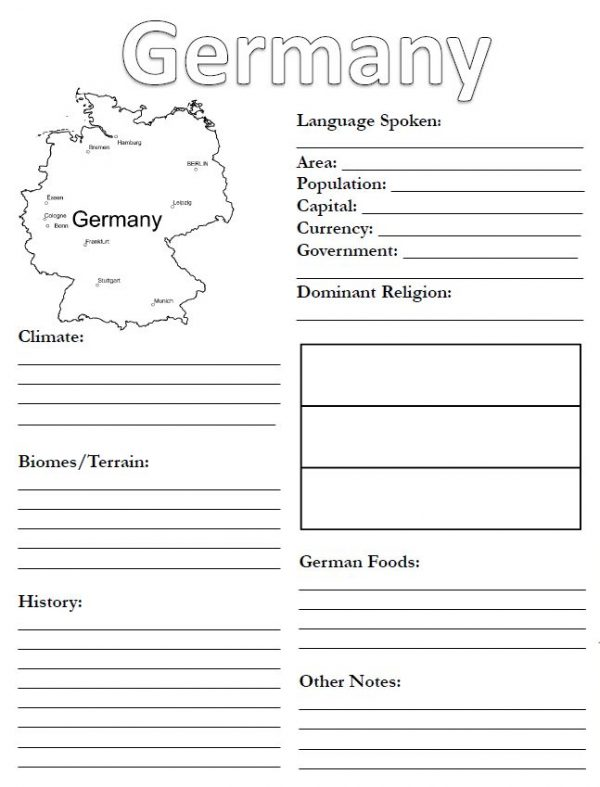 Printable of Germany notebooking page