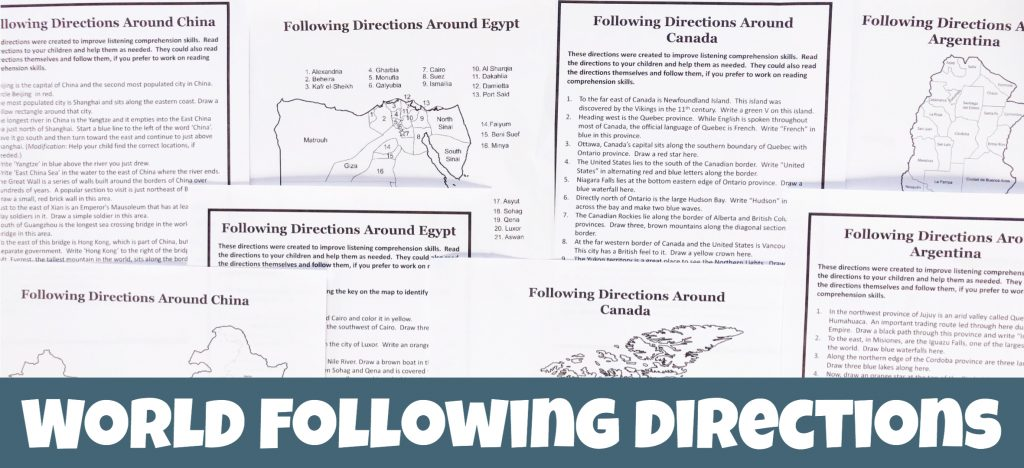 Printed black and white maps and sets of following directions to work with the maps. The text below says World Following Directions.