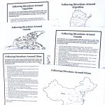 Three printed sets of directions and three black and white maps.