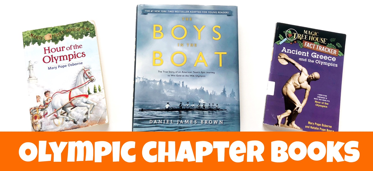 """Three chapter books about the Olympics with the text """"Olympic Chapter Books"""""""