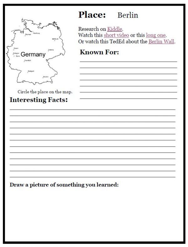 Printable of Berlin Notebooking Page