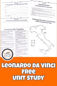 Learn about Leonardo da Vinci in your homeschool and inspire your children's interest in a variety of subjects and develop their creativity. You will explore art, science and even some math while doing so! This unit study provides you with a variety of books, videos, printables and hands-on activities to get started!