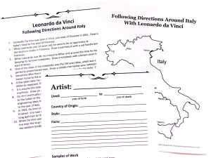 Printed pages from Leonardo da Vinci unit study. Includes a black and white map of Italy, a set of directions that accompany that map and an artist notebooking page.