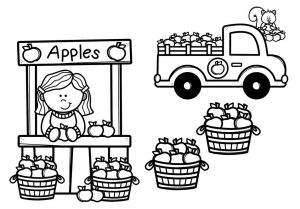 Black and white line drawing of an apple stand with four baskets of apples and a pickup truck full of apples.
