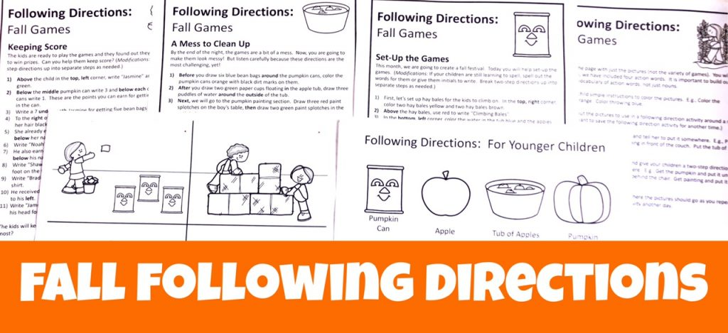Cover Image with text Fall Following Directions and black and white print outs of four sets of directions and two pictures in the packet.