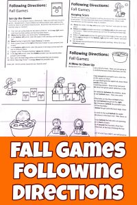 This FREE Fall Following Directions Packets contains a fun fall games picture with five sets of directions to color it all while helping your children develop their listening skills.